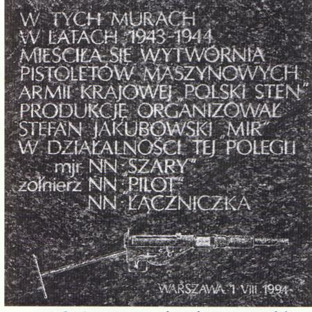 Memorial Plaque Commemorating Underground Sten Factory at Warsaw Royal Castle